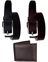 Elligator Men's Synthetic Combo Of 2 Belt & Wallet (Sd_Blk_Brnbelt_Sdbrnwlt_Multicolor_Free Size)