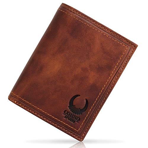 eae888a0735fd Geldbörse Herren Leder mit TÜV-zertifiziertem RFID Schutz schlankes Portemonnaie  Brieftasche Vintage Geldbeutel mit Münzfach