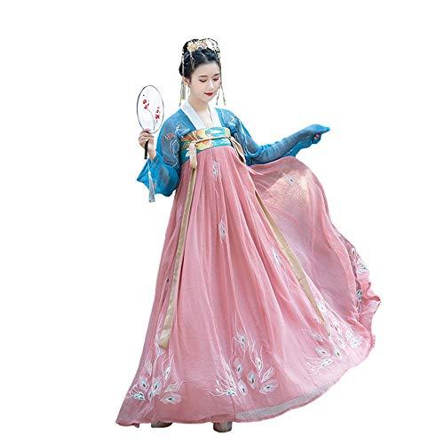 YCWY Das alte chinesische Kleid der Frauen, traditionelles gesticktes Hanfu Cosplay Kostüm, Tang Suit Traditional Vintage Langarm Cosplay Performances Rock, Halloween Weihnachten,M