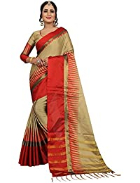 Sarees For Women Sarees New Collection Sarees For Women Latest Design Women's Brown Cotton Silk Saree With Blouse...