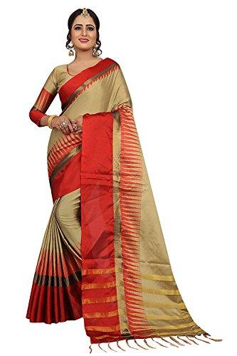 Sarees For Women Sarees New Collection Sarees For Women Latest Design Women's Brown Cotton Silk Saree With Blouse...