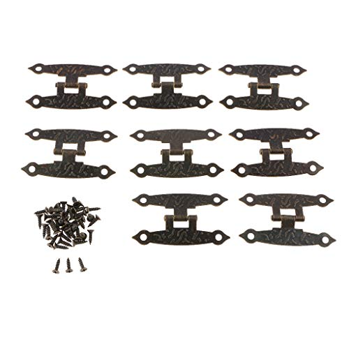 B Blesiya 8 Stücke Vintage Antik Scharniere Möbelscharniere Möbelbänder Zierscharniere mit Schrauben aus Eisen -