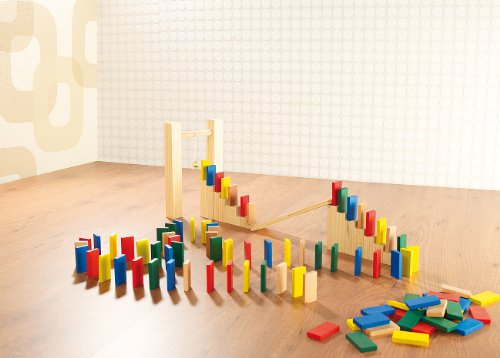 Playtastic Dominosteine: 263-teiliges Domino-Set mit Holzsteinen & Action-Elementen (Holz Domino Rallye) (Holz-bausteine-set)
