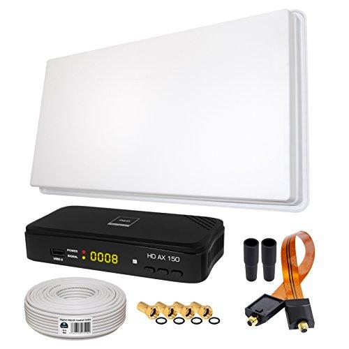 SAT KOMPLETT SET von HB-DIGITAL: Skymaster Hochleistungs-Sat-Flachantenne ✨ SFA 60-Single 1 Teilnehmer Direkt ➕ 1x Hochwertiger SAT-Recever ➕ Fensterhalterung ➕ 10m HQ-135 SAT-Kabel ➕ SAT Fensterdurchführung GOLD ➕ 4x F-Stecker vergoldet ➕ 2x Gummitüllen ➕ HDMI Kabel ■ FULL HD TV 3D 4K ■ (ALL-IN-ONE) Parabolspiegel-antenne