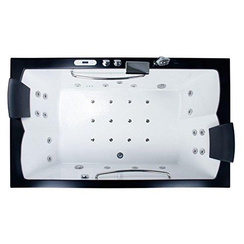 EAGO Design Whirlpool AM185-1JDTSZ 200x120cm – Einbau-Badewanne mit 18 Hydrojets und 12 Bodenjets – 6 Massage-Modi