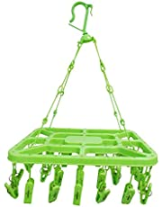 KindLook Plastic Clothes Drying Hanger with 32 Clips/pegs (Assorted Colour) - Rectangular Design - Kid's Clothes Hanger