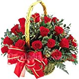 FloraIndia Fresh Flower (Basket of 24 Red Roses)