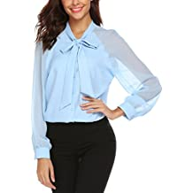 Femme Chemise en Mousseline Longue Top Blouse Chemisier avec NœUd Papillon  Noir Blanche Bleu 3fa0c1db6377