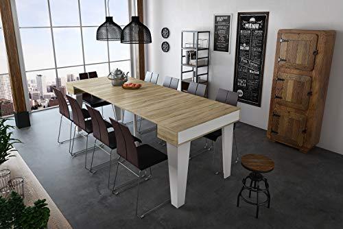 Home Innovation - Table Console Extensible, rectangulaire avec rallonges, Nordic KL jusqu'à 237 cm, Style Scandinave pour Salle à Manger et séjour, Blanc Mat - Chêne brossé. JusquŽà 10 Personnes