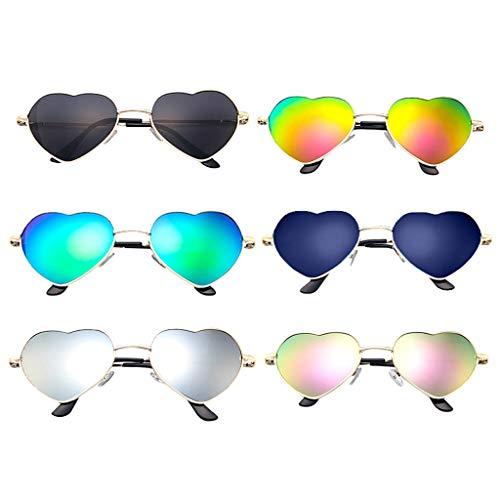 WooCo Herz Sonnenbrillen für Herren und Damen, Liebhaber Unisex Stilvolle Sonnenbrillen, Heißer Verkauf Persönlichkeit Cool Cute Eyewear Strahlenschutzbrillen Metallrahmen (6 Sonnenbrillen, One size)