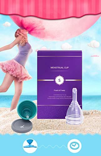 Menstruationstasse mit steril Paket & Einzigartiges Entlastungsventil-Kostenlose Faltbar Tragbare Reinigungsbecher - Finde deine Perfekte Passform Beste Alternative zu Tampons und Stoffbinden