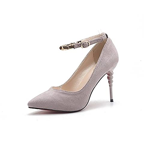 1TO9 Womens Spikes Stilettos Ankle-Wrap Pointed-Toe Gray Patent-Leather Pumps Shoes - 4 UK
