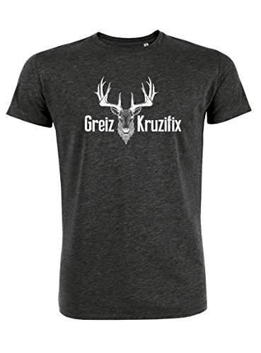 Datschi Trachten T-shirt Greiz Kruzifix, Bio Baumwolle, Trachtenshirt Oktoberfest Bayrisch (L, DarkGray-Weiss) (Bio-baumwoll-t-shirt Schädel)