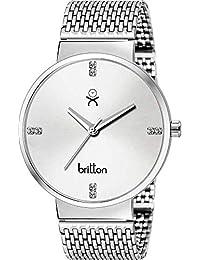 BRITTON Analogue Silver Dial Men's Watch -BR-GR46-WHT-CH-SCH