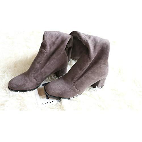 HAOLIEQUAN Frauen Über Dem Knie Hohe Schuhe Plattform Reißverschluss Alle Spiel Square High Heel Winter Stiefel Damen Schuhe Größe 34-43,Dunkelgrau,42