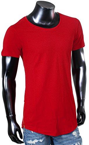 Redbridge Oversized Herren T-Shirt lang Longshirt uni mit seitlichen Zippern Reißverschluss slimfit tiefer breiter Rundhals Ausschnitt einfarbig Rot
