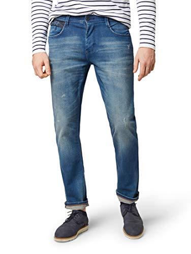 TOM TAILOR für Männer Jeanshosen Josh Regular Slim Jeans mid Stone Bright Blue Denim, 32/34 -