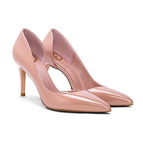 YIXINY Escarpin GD-669T Chaussures Simples Femme PU Amende Talon Pointu La Bouche Peu Profonde Mariage 8 CM Talons Hauts Couleur Nude