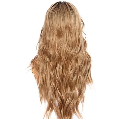 Lange Haare Perücke,Rifuli®Seide dunkle Wurzeln Ombre braun natürliche Welle täglich Make-up synthetische Lace Front Voluminöse Perücke Wig gewellt langhaar mittelscheitel lockig Haar Wig (70er-jahre-make-up Und Haare)
