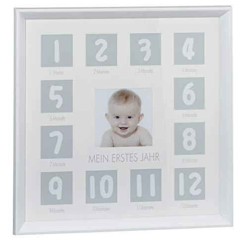Bada Bing Bilderrahmen Mein Erstes Jahr 37,5 X 37,5 cm Fotorahmen Für Die Ersten 12 Monate Quadratisch Weiß Edel Geschenk Baby Geburt 31 - 12 X 12 Bilderrahmen