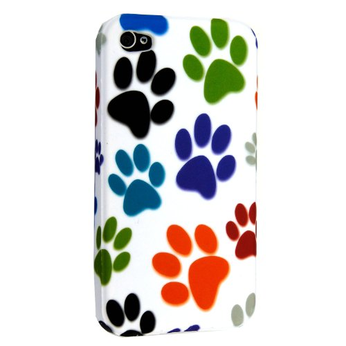 APPLE IPHONE 4 4S SILICONE GEL SKIN CASE COVER+FREE STYLUS (MULTI DOG CAT PAW FOOT) MULTI DOG CAT PAW FOOT