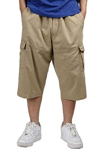 Herren's dünn leisure Dünger-Hose Cargo abgeschnitten Overalls Fett man lose Hose zuzüglich Size gelb 5XL (Lightweight T-shirt Erwachsene Mens)
