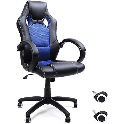 Songmics Racing Silla de escritorio computadora oficina Ergonómica Regulable PU Metal cromado 111-121 cm Negro-Azul