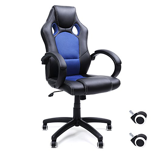 Songmics Racing Silla de escritorio computadora oficina Ergonómica Regulable PU Metal cromado 111-121 cm Negro-Azul OBG56L