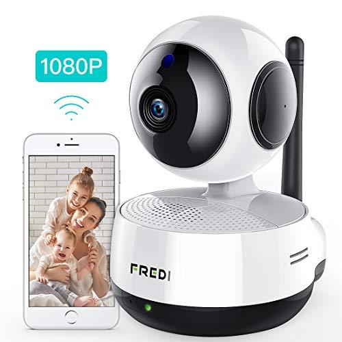 FREDI 1080P IP Telecamera di Sorveglianza 360° Wifi Wireless Camera Interno Telecamera wi-fi senza fill con Controllo Remoto, Audio Bidirezionale, Modalità Notturna a Infrarossi Videocamera di sorveglianza Camera Compatibile con iOS Android PC (1080P)
