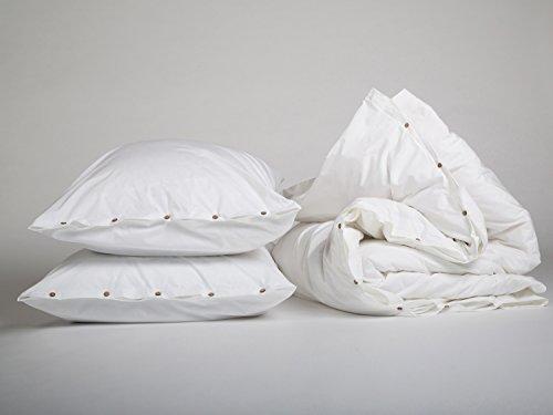 Yumeko Bettwäsche - Bettwäscheset - Perkal Baumwolle - 200x220 cm - Kissenbezüge 80x80 cm - Pure White - Weiß - fest, glatt & knisternd - 100% biologische Baumwolle - ökologisch - atmungsaktiv - Hotelqualität