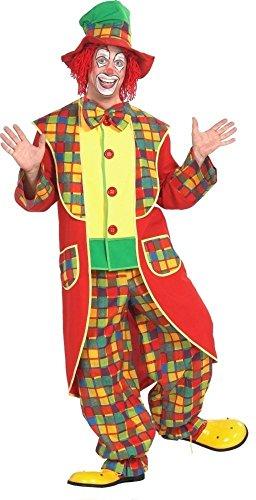 KARNEVALS-GIGANT Clown Kostüm bunt für Erwachsene | Größe 50 | 3-teiliges Narrenkostüm | Clownkostüm Unisex Faschingskostüm | Pennywise Anzug für Karneval