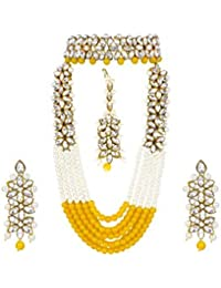 APSARA The Shining Diva Traditional Kundan Necklace Set With Yellow & White Pearl Multi Layer Designer Gold Plated...