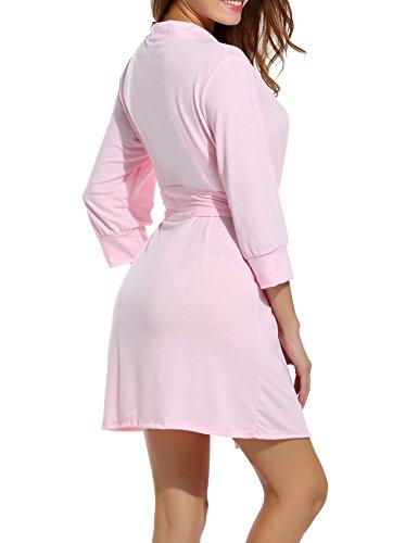 Unibelle - Vestaglia - Basic - Maniche a 3/4 -  donna 1-Pastell Rosa