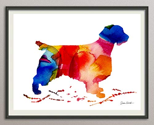 welsh-springer-spaniel Rasse Hunde Hunderasse Fine Art Print Aquarell Silhouette Profil Poster Kunstdruck Plakat modern ungerahmt DIN A 4 Deko Wand Bild -