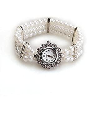 Ecloud Shop® Perle Perlen Kristall Strass Armband Armband Armbanduhr