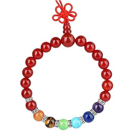 KYEYGWO 21 Mala Perlen-Armband für Männer und Frauen, 7 Chakra-Kristall-Steinarmbänder für Unisex, Reiki-Stretching-Gebetsarmband, Karneol -