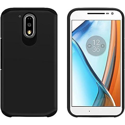 Orzly® Duo-Armour Case para MOTO G4 / G4 PLUS SmartPhone (2016 Lenovo Version de Motorola Modelo Teléfono Móvil) - Funda durable y ligero Capa Doble de mayor agarre y defensa - NEGRO