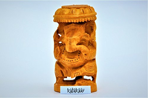 KalaKaar TouchWood Hand Crafted Wooden Ganesha Idol for Car Dashboard (1, 3 inch)  available at amazon for Rs.349