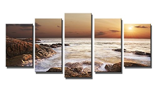 Wieco Art - the Rocky Sea 5 Panels Modern Seascape Giclee Canvas Prints Artwork Sea Beach Pictures Paintings on Canvas Wall Art Ready to Hang for Home and Office Decoration Décor