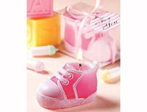 12 Pink Baby Bootie Christening Candle Favour Gifts
