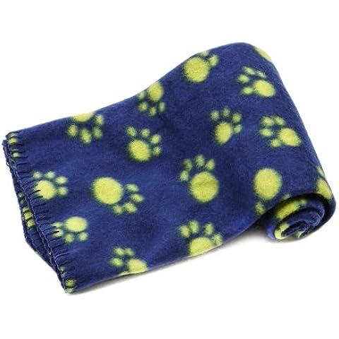 Anself Manta Forro Polar para Perro Paw Print Perro Gato Pet Mascota Manta Fleece Blanket Cama Soft Mat