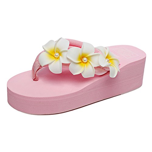 YOUJIA Damen Boho Blumen Zehentrenner Sommer Strandschuhe Keilschuhe Plateau Slipper (#6 Pink, EU 32)