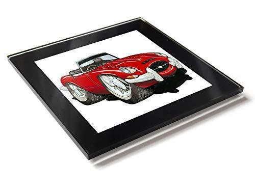 Koolart - Posavasos de cristal con caja de regalo para coche, diseño de dibujos animados de Jaguar E, rosso, 10 cm x 10 cm