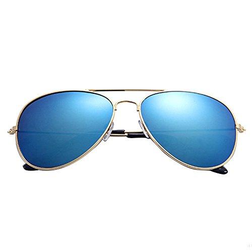 jgashf Coole Fliegerbrille Sonnenbrille Premium Polarisierte Klassische Unisex Pilotenbrille Mehrfarbig Uv400 Schutz (Gold, Blau)