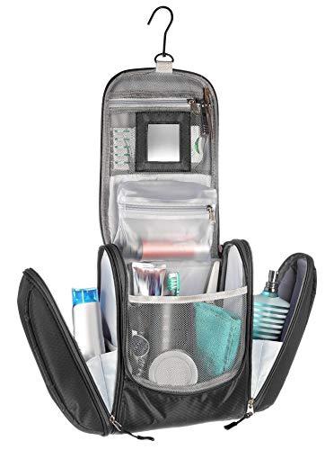 Kronify beauty case da viaggio donna grande con specchio per donna e uomo pochette da bagno lavabile grande xxl per cosmetici borsa spaziosa donna e uomo con gancio (nero)