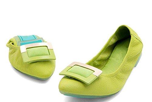Abrigo De Mujeres Zapatos Ballet Plegable Shallow Leathermouth Shoes Tiene Fondo Plano Hecho De Huevos Mujer Rollss Zapatos Plegables Zapatos De Baile Zapatos Verdes