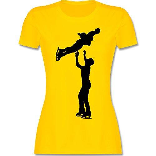 Wintersport - Eiskunstlauf Paarlaufen Eiskunstläufer - S - Gelb - L191 - Damen Tshirt und Frauen T-Shirt