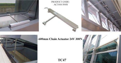 TC47 - AOV automatisches Öffnen GTI ACTUATOR 600 mm 24 V 300N SMOKE Fenster zur Anbringung an Kette