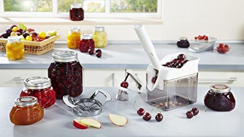 Leifheit Kirschentkerner Cherrymat für schnelles Entkernen, Kirschkernentferner trennt Kern & Fruchtfleisch, Kirschenentsteiner mit Auffangbehälter