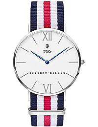 Reloj TWIG Haring Plata/Blanco Navy-Stripes vintage minimalist